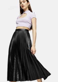 Topshop Black Pleated Pu Midi Skirt