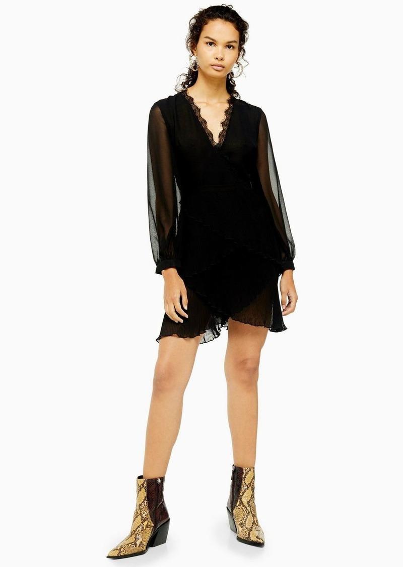 Topshop Black Pleated Ruffle Mini Dress