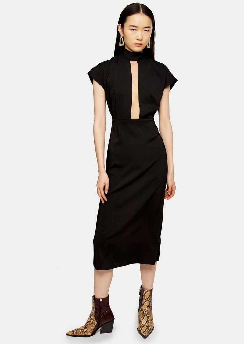 Topshop Black Plunge Tie Neck Midi Dress