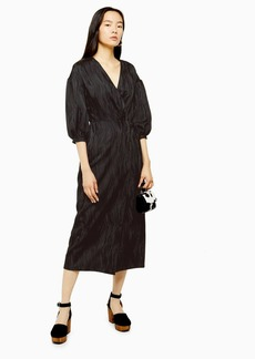 Topshop Black Printed Oversized Sleeve Wrap Midi Dress