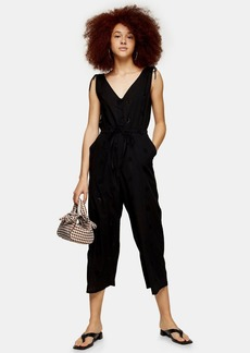 Topshop Clothing /Rompers Jumpsuits /Black Relaxed Embroidery Jumpsuit