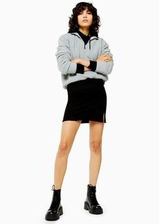 Topshop Black Ribbed Jersey Mini Skirt