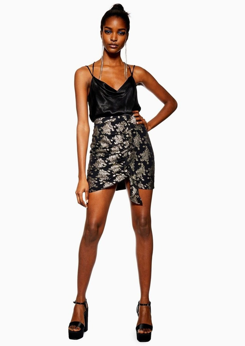Topshop Black Ruched Foil Print Mini Skirt