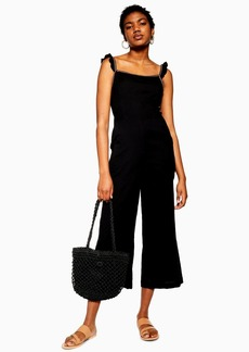 Topshop Sale /Up To  Off Selected Lines /Black Ruffle Strap Jumpsuit
