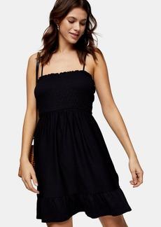 Topshop Clothing /Dresses /Black Shirred Flippy Mini Dress