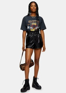 Topshop Black Soft Faux Leather Pu Runner Shorts