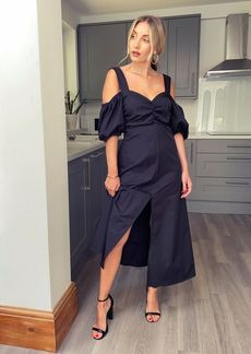 Topshop Clothing /Dresses /Black Taffeta Bardot Midi Dress