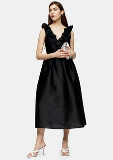 Topshop Black Taffeta Bow Dress