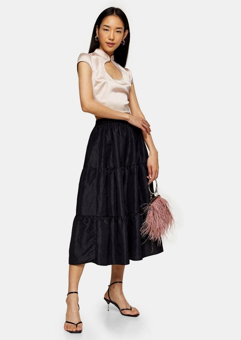 Topshop Black Taffeta Tiered Midi Skirt