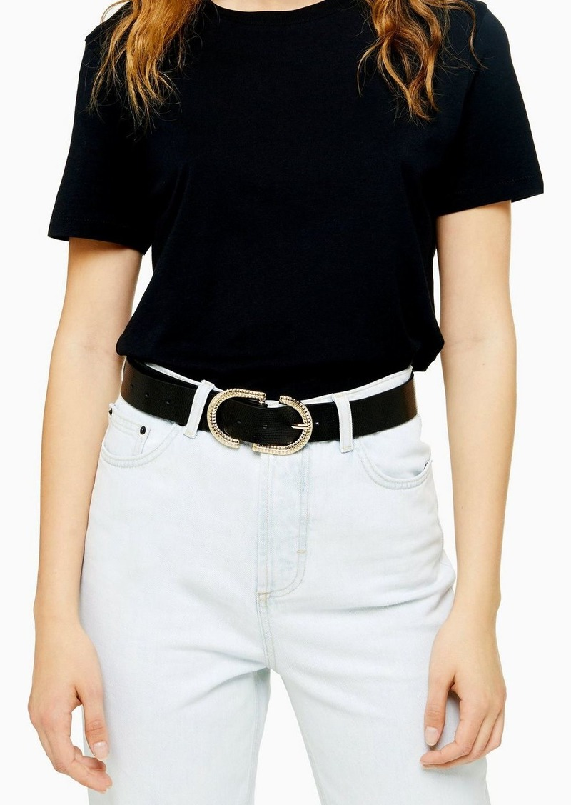 Topshop Black Textured Logo Belt