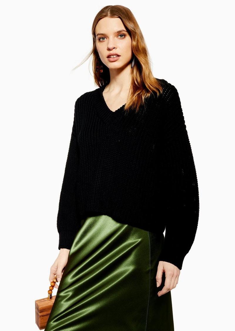 Topshop Knitted Black V Neck Sweater