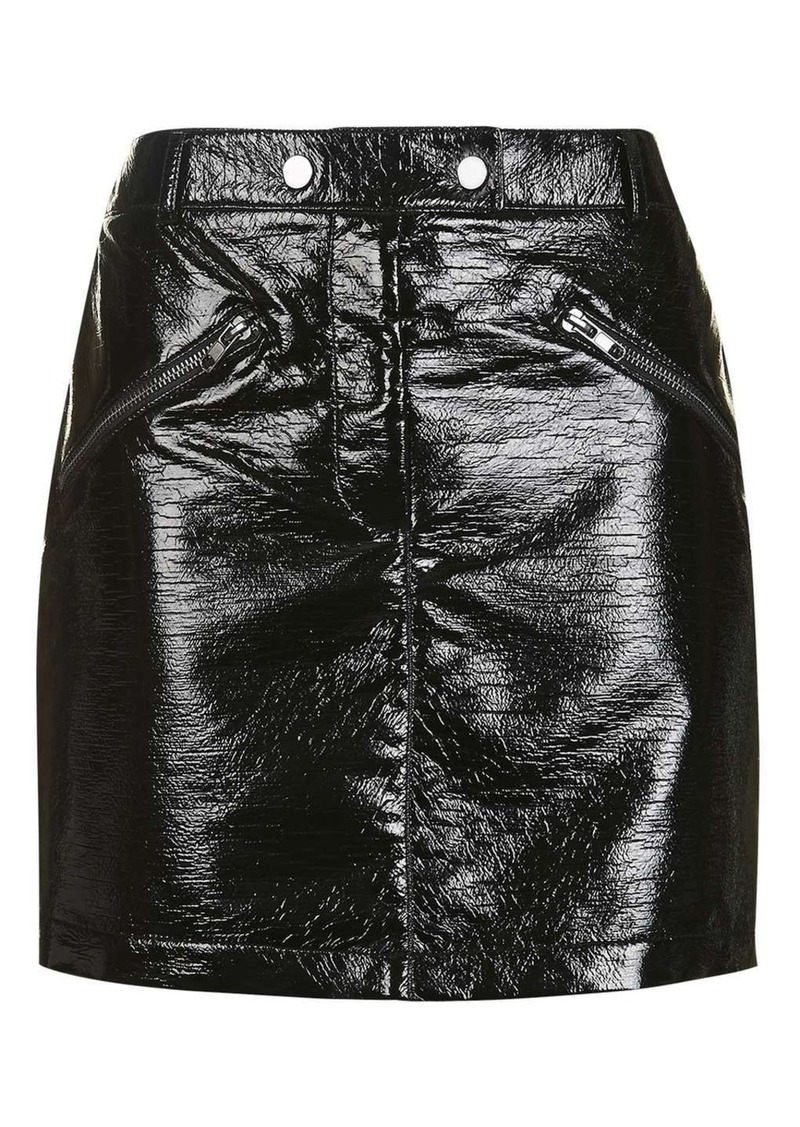 855ce51b2c SALE! Topshop Black Vinyl Mini Skirt