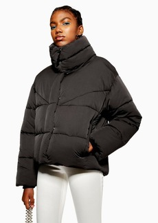 Topshop Black Wrap Puffer Jacket