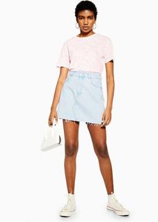 Topshop Bleach Wash Denim Mini Skirt