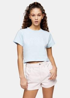 Topshop Blue Berlin Crop T Shirt
