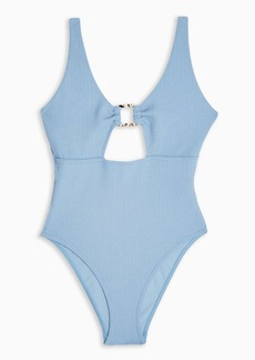 Topshop Blue Crinkle Ring Cut Out Fuller Bust Swimsuit