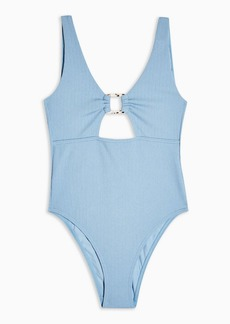 Topshop Blue Crinkle Ring Cut Out Swimsuit