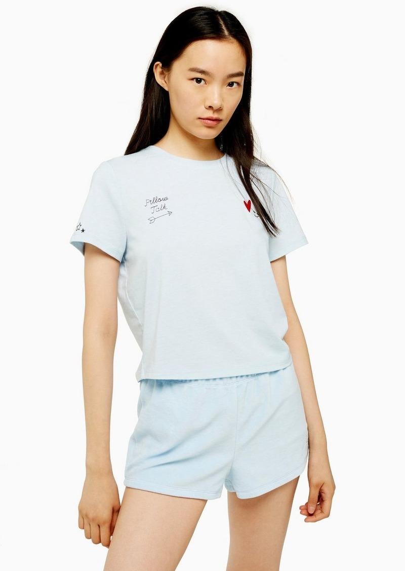 Topshop Blue Embroidered Velour Pyjamas