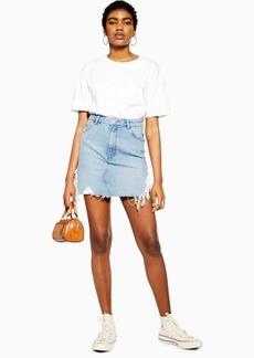 Topshop Blue Side Ripped Denim Skirt