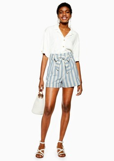 Topshop Blue Stripe Shorts With Linen