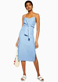 Topshop Blue Tie Front Denim Midi Dress