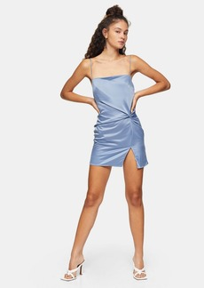 Clothing /Dresses /Blue Twist Front Slip Mini Dress