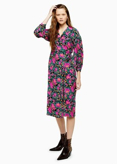 Topshop Bold Floral Wrap Dress