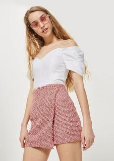 Topshop Boucle Asymmetric Wrap Mini Skirt