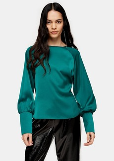 Topshop Green Bow Back Blouse