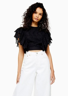 Topshop Broderie Frill Crop Blouse