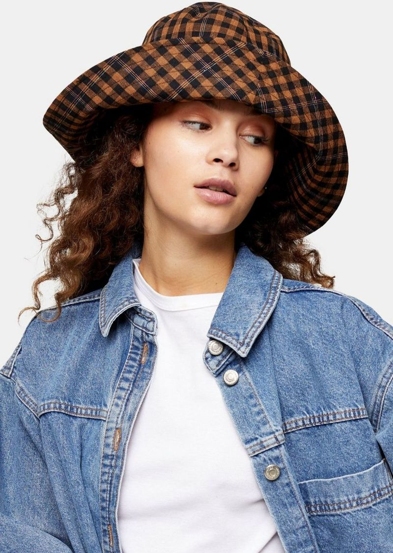 Bags Accessories /Hats /Brown Mini Check Wide Bucket Hat