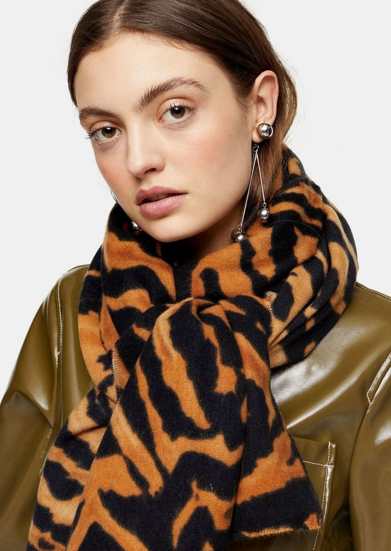 Topshop Brown Tiger Featherweight Scarf