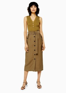Topshop Brown Utility Button Midi Skirt