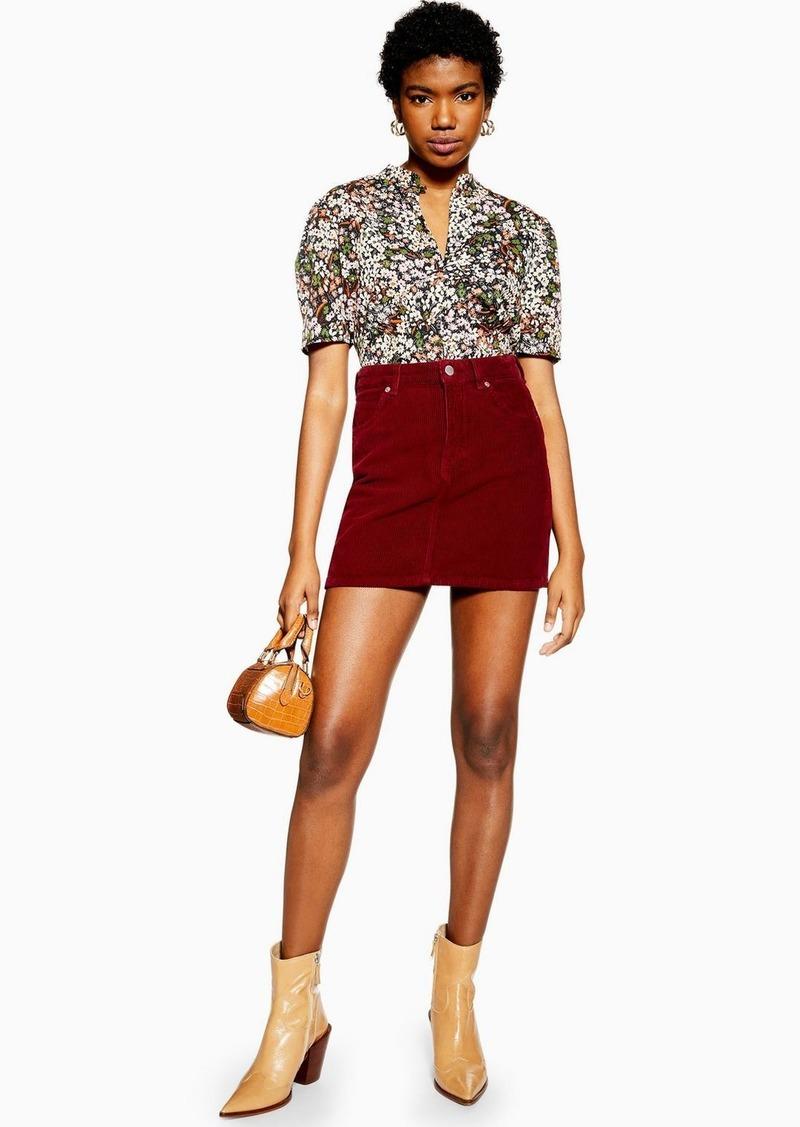 Topshop Burgundy Corduroy Mini Skirt