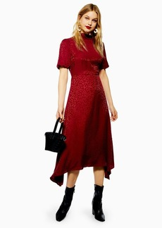 Topshop Burgundy Jacquard Hanky Hem Dress