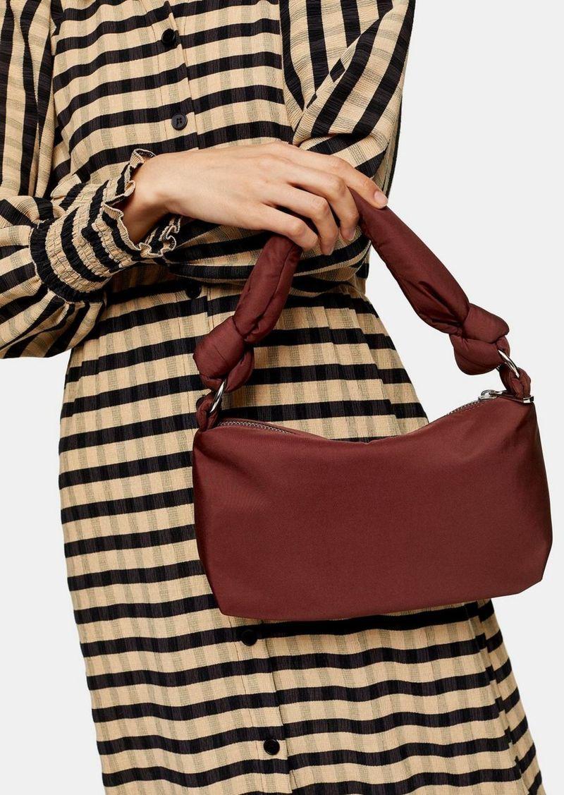 Burgundy Knot Nylon Shoulder Bag