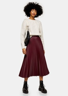 Topshop Burgundy Pleated Pu Midi Skirt