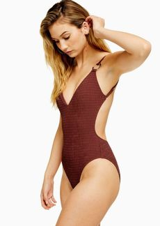Topshop Burgundy Shirred Ring Swimsuit