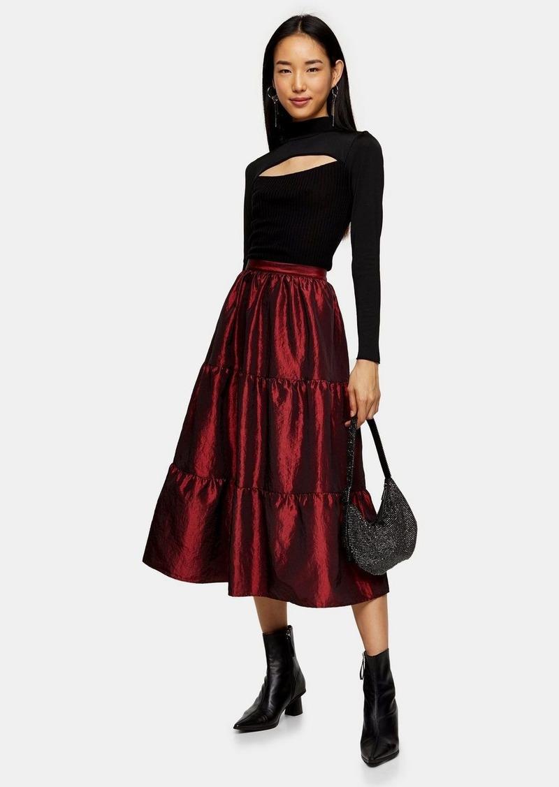 Topshop Burgundy Taffeta Tiered Midi Skirt