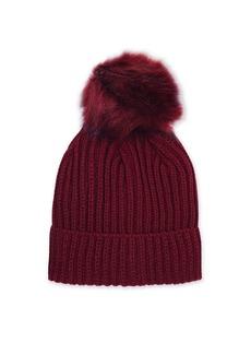 Topshop Burgundy Tonal Pom Beanie Hat