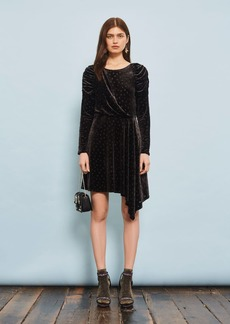 Burnout Spot Velvet Dress