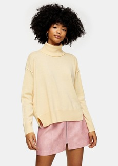 Topshop Buttermilk Ribbed Back Roll Neck Jumper With Cashmere