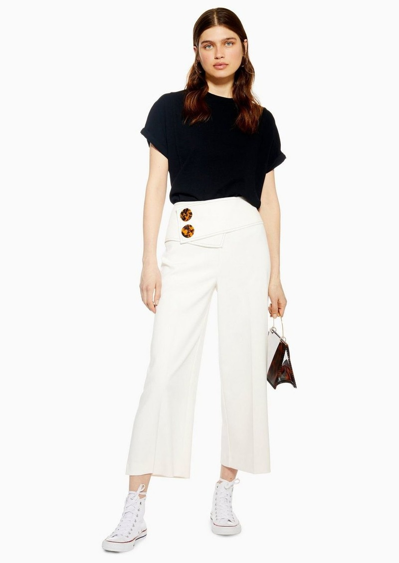 Button Crop Wide Leg Trousers