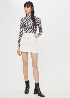 Topshop Button Fly Denim Skirt