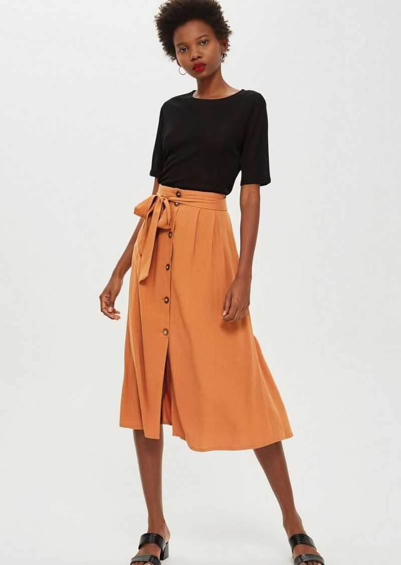 cc51002aa Topshop Multi Spotted Button Midi Skirt