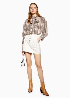 Topshop Button Utility Denim Skirt