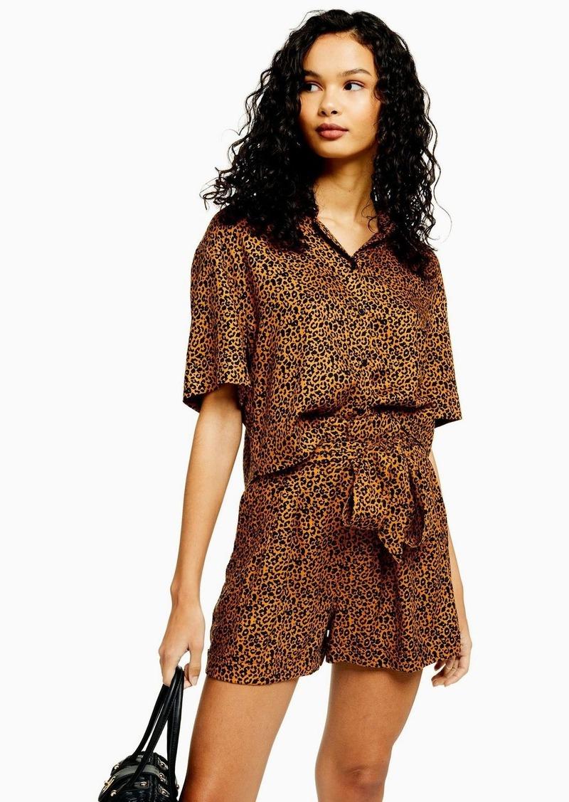 Topshop Cairo Brown Leopard Print Short Sleeve Shirt