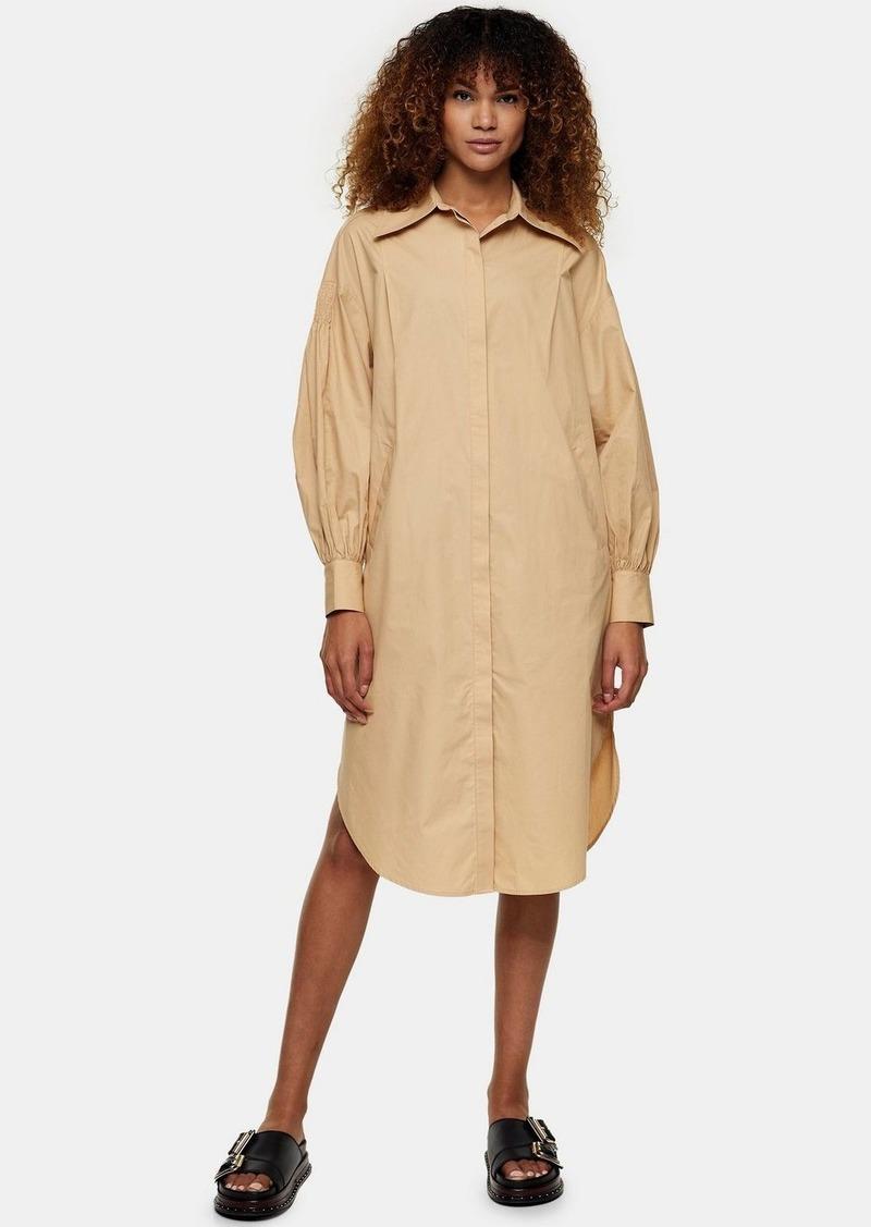 Clothing /Dresses /Camel Oversized Midi Shirt Dress