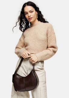 Topshop Camel Super Crop Brushed Knitted Sweater