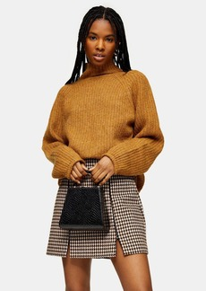 Topshop Camel Super Soft Pointelle Funnel Sweater